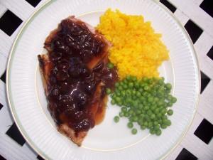 Ham Steak with Cranberry Mustard Sauce
